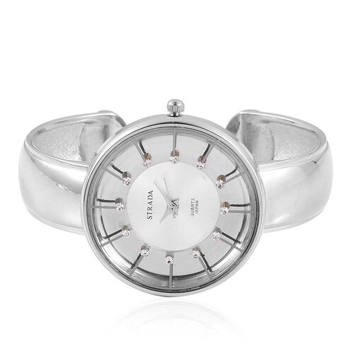 STRADA Japanese Movement White Austrian Crystal Studded Silver Dial Water Resistant Bangle Watch in Silver Tone with Stainless Steel Back