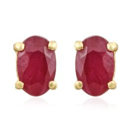 African Ruby (Ovl) Stud Earrings (with Push Back) in 14K Gold Overlay Sterling Silver 0.500 Ct.