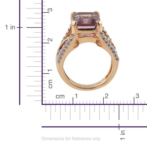 Anahi Ametrine (Oct 6.20 Ct), Amethyst, Citrine and Natural Cambodian Zircon Ring in 14K Gold Overlay Sterling Silver 8.500 Ct. Silver wt 6.70 Gms.