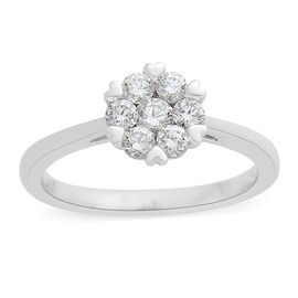 ILIANA 18K W Gold IGI Certified Diamond (Rnd) Floral Ring 0.500 Ct.