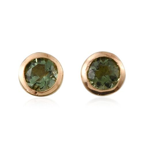 Bohemian Moldavite (Rnd) Stud Earrings (with Push Back) in 14K Gold Overlay Sterling Silver 0.400 Ct.