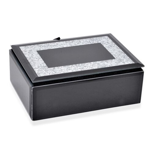 Silver Bling Paper Embellished Black Colour Glass Box (Size 15.5X11.5X6 Cm)