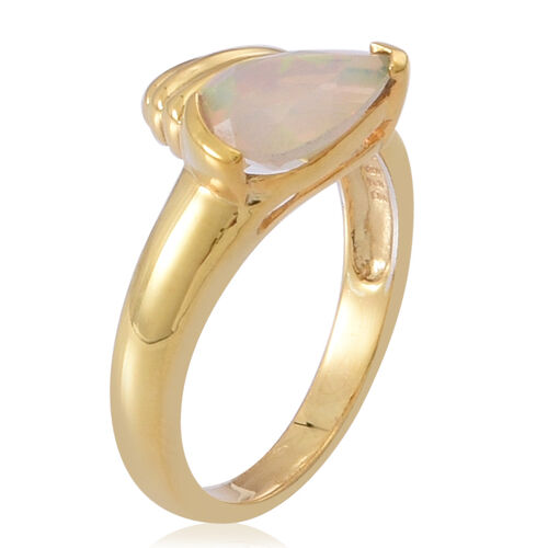 Ethiopian Welo Opal (Pear) Solitaire Ring in 14K Gold Overlay Sterling Silver 1.250 Ct.