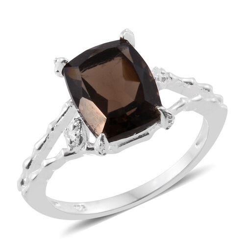 Brazilian Smoky Quartz (Cush) Solitaire Ring in Sterling Silver 4.000 Ct.