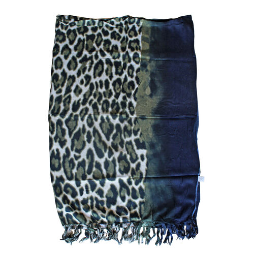 100% Rayon Leopard Pattern Green and Navy Colour Sarong (Size 160x110 Cm)