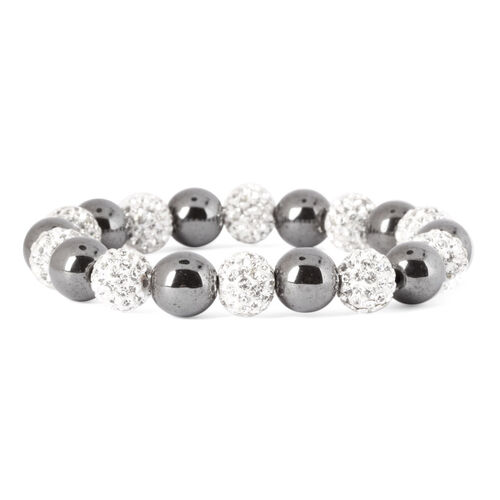 Hematite and White Austrian Crystal Stretchable Bracelet