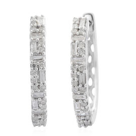 9K White Gold SGL Certified Diamond (Bgt and Rnd) (I3/G-H) Earrings (with Clasp Lock) 0.330 Ct.