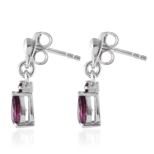 Rare Mozambique Grape Colour Garnet (Pear) Earrings (with Push Back) in Platinum Overlay Sterling Silver 1.000 Ct.
