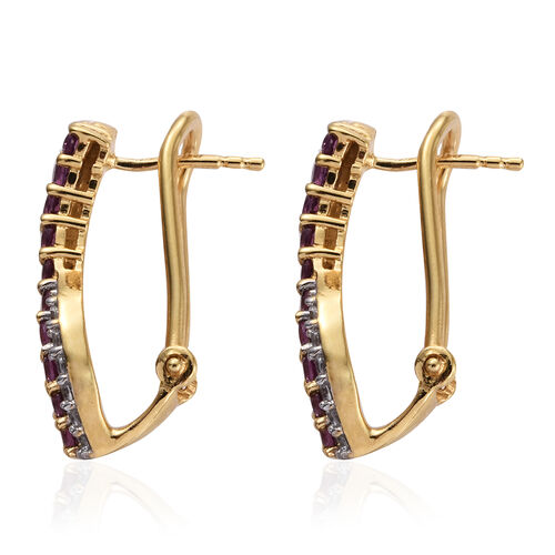 Purple Garnet, Natural Cambodian Zircon 1.50 Ct Silver Earrings (with French Clip) in Gold Overlay