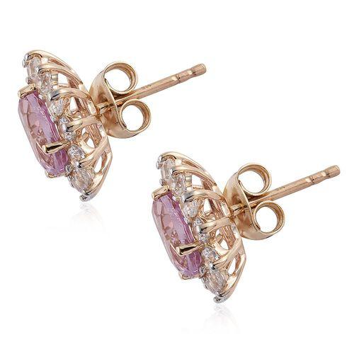 9K Y Gold AAA Brazilian Kunzite (Ovl), Natural Cambodian Zircon Stud Earrings (with Push Back) 5.000 Ct.