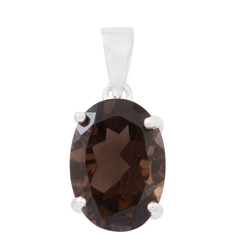 Brazilian Smoky Quartz (Ovl) Solitaire Pendant in Sterling Silver 5.750 Ct.