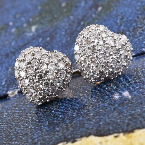 9K Yellow Gold SGL Certified Diamond (Rnd) (I2-I3/G-H) Heart Stud Earrings (with Push Back) 1.000 Ct.