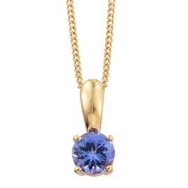 Tanzanite 0.50 Carat Silver Solitaire Pendant with Chain in Gold Overlay
