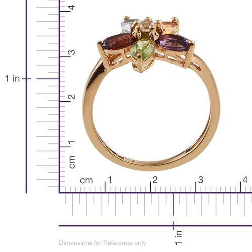 Amethyst (Ovl), Hebei Peridot, Sky Blue Topaz, Mozambique Garnet, Citrine and White Topaz Floral Ring in 14K Gold Overlay Sterling Silver 2.500 Ct.