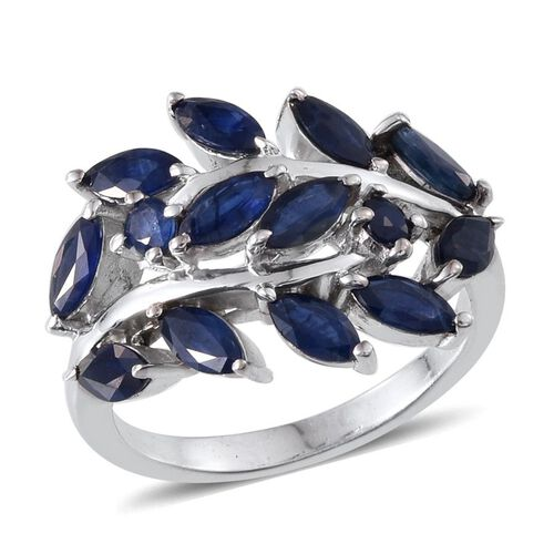 Kanchanaburi Blue Sapphire (Mrq) Ring in Platinum Overlay Sterling Silver 4.000 Ct.