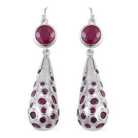 RACHEL GALLEY African Ruby (Rnd) Drop Hook Earrings in Rhodium Plated Sterling Silver 12.50 Ct. Silver Wt 13.30 Gms