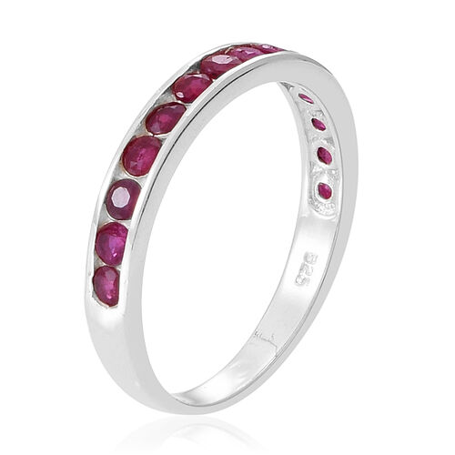 Burmese Ruby (Rnd) Half Eternity Band Ring in Sterling Silver 1.000 Ct.