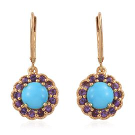 Sleeping Beauty Turquoise And Amethyst 3 Carat Silver Lever Back Earrings In Gold Overlay