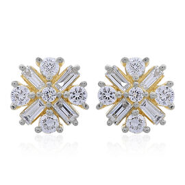 Limited Edition - ILIANA 18K Yellow Gold IGI Certified Diamond (Bgt and Rnd) (SI/G-H) Stud Earrings (with Screw Back) 0.500 Ct.