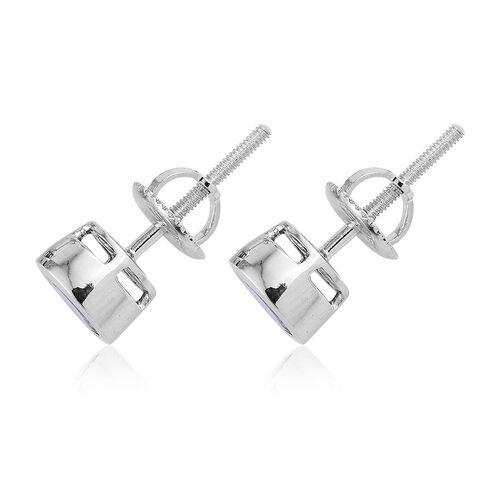ILIANA 18K White Gold 2 Carat AAA Tanzanite Round Solitaire Stud Earrings Bezel Set with Screw Back.