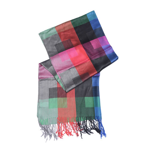 Red, Black and Multi Colour Checks Pattren Scarf with Fringes (Size 190X70 Cm)