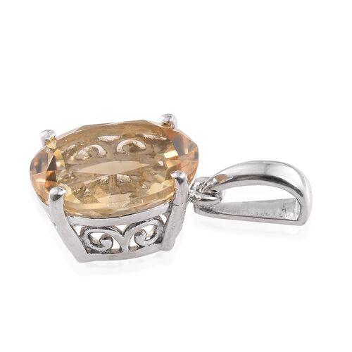 Citrine (Ovl) 4 Carat Solitaire Silver Pendant in Platinum Overlay