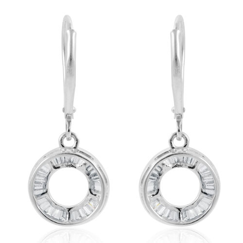 9K W Gold SGL Certified Diamond (Bgt) (I3/G-H) Circle of Life Lever Back Earrings 0.500 Ct.