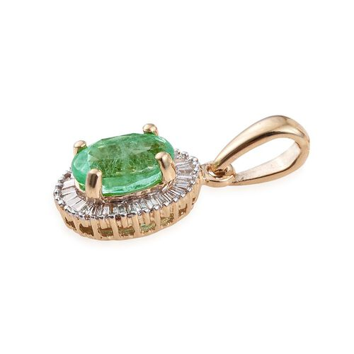 ILIANA 18K Y Gold Boyaca Colombian Emerald (Ovl 1.25 Ct), Diamond Pendant 1.500 Ct.