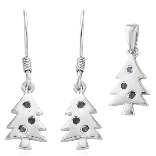 Blue Diamond (Rnd) Christmas Tree Pendant and Hook Earrings in Platinum Overlay Sterling Silver 0.150 Ct.