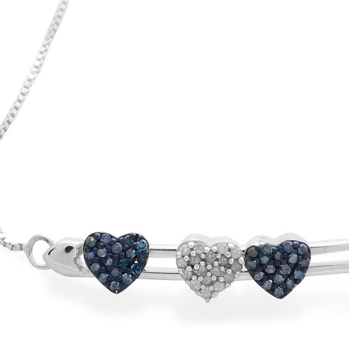 Designer Inspired - Blue Diamond (Rnd), White Diamond Adjustable Hearts Bracelet (Size 6.5 to 8) in Platinum Overlay Sterling Silver 0.250 Ct.