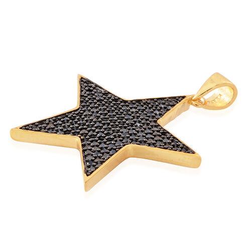 Boi Ploi Black Spinel (Rnd) Star Pendant in 14K Gold Overlay Sterling Silver 2.750 Ct. Silver wt. 7.00 Gms.