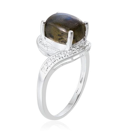 Labradorite (Cush 3.75 Ct), Diamond Ring in Sterling Silver 3.780 Ct.