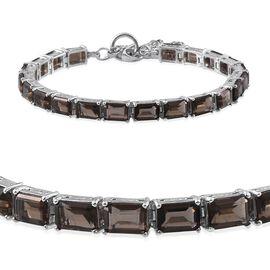 Brazilian Smoky Quartz (Oct), Swiss Marcasite Bracelet (Size 7.5) in Platinum Overlay Sterling Silver 17.750 Ct.