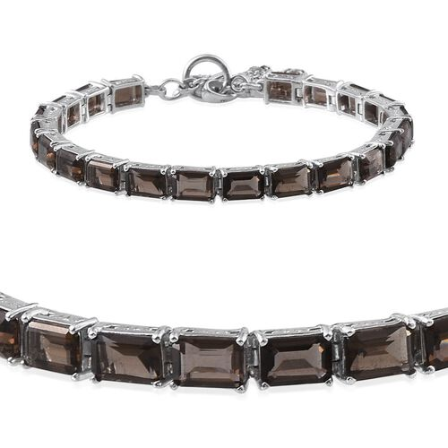 Brazilian Smoky Quartz (Oct), Swiss Marcasite Bracelet (Size 7.5) in Platinum Overlay Sterling Silver 17.750 Ct.