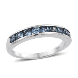 RHAPSODY 950 Platinum Espirito Santo Aquamarine (Rnd) Half Eternity Band Ring 1.000 Ct.