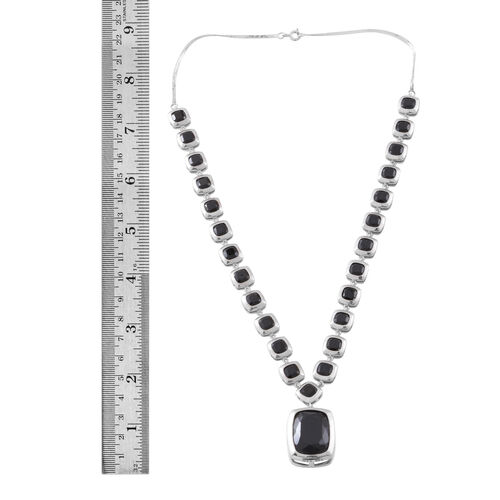 Boi Ploi Black Spinel (Cush 20x15 mm) Necklace (Size 18) in Rhodium Plated Sterling Silver 57.000 Ct.Silver WT 26.00 Gms