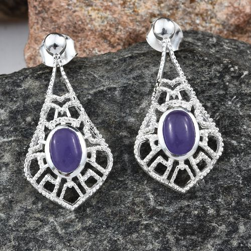 Designer Inspired-Purple Jade (Ovl) Earrings in Sterling Silver 1.750 Ct. Silver wt 3.42 Gms.