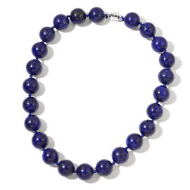 Limited Edition - Large AAA Lapis Lazuli (18mm) Ball Beads Necklace (Size 20) with Magnetic Clasp in Rhodium Plated Sterling Silver 1106.500 Ct.