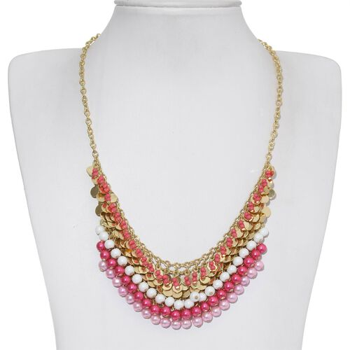 Ruby, Pink and Golden Colour Seed Beads Dangle Necklace (Size 18 with 3 inch Extender)
