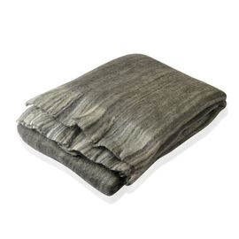 30% Mohair Wool Charcoal and Multi Colour Throw with Fringes (Size 180X130 Cm)