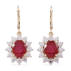 9K Yellow Gold AAA Rare Size African Ruby (Ovl 10x8 mm), Natural White Cambodian Zircon Lever Back Earrings 11.000 Ct.