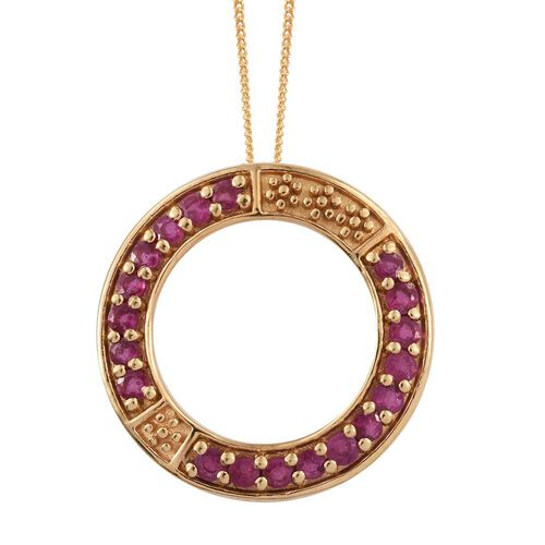 African Ruby 1.5 Carat Silver Circle of Life Pendant With Chain in Gold Overlay