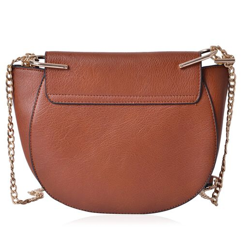 Chocolate Colour Crossbody Bag with Shoulder Strap (Size 27x20x8 Cm)