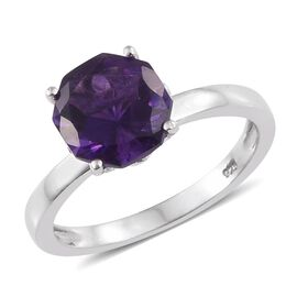 Amethyst (Octillion Cut) Solitaire Ring in Platinum Overlay Sterling Silver 2.750 Ct.