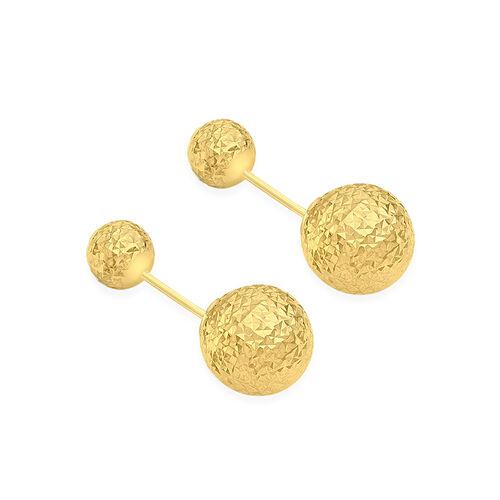 JCK Vegas Collection 9K Yellow Gold 6MM and 10MM Diamond Cut Ball Frock Earrings