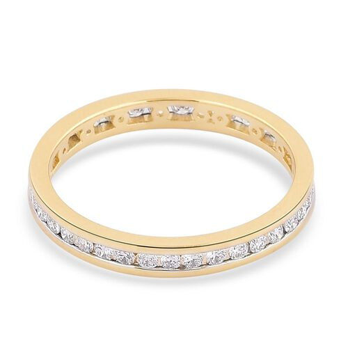 ILIANA 18K Yellow Gold IGI Certified Diamond (Rnd) (SI/G-H) Full Eternity Band Ring 0.500 Ct.