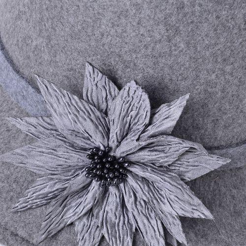 Grey Colour Flower Adorned Hat (Size 30X16 Cm)