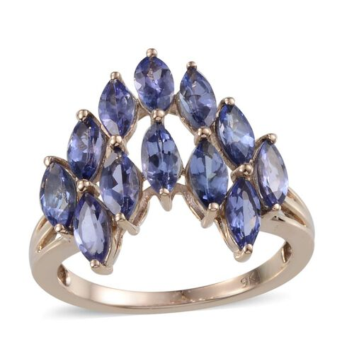 9K Y Gold Tanzanite (Mrq) Ring 3.000 Ct.
