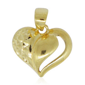 Surabaya Gold Collection - 9K Yellow Gold Diamond Cut Heart Pendant