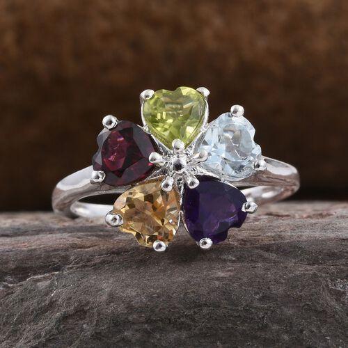 Rhodolite Garnet (Hrt), Sky Blue Topaz, Hebei Peridot, Amethyst and Citrine Flower Ring in Platinum Overlay Sterling Silver 2.250 Ct.